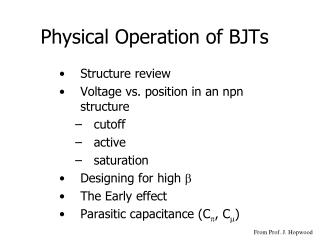 Physical Operation of BJTs