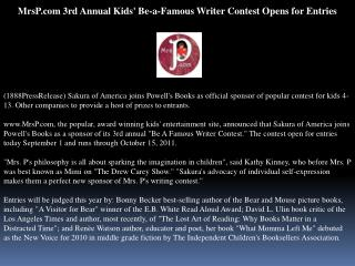 mrsp.com 3rd annual kids' be-a-famous writer contest opens f