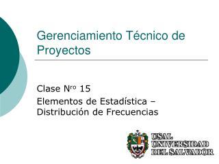 Gerenciamiento T cnico de Proyectos