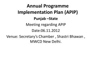 Annual Programme Implementation Plan APIP
