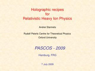 Holographic recipes  for  Relativistic Heavy Ion Physics
