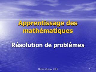 Apprentissage des math matiques  R solution de probl mes