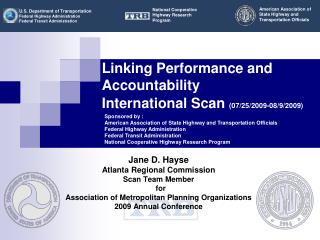 Linking Performance and Accountability  International Scan 07