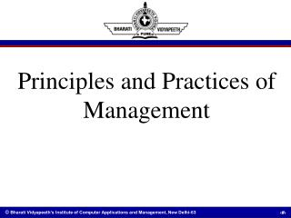 Principles and Practices of Management