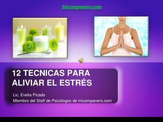 12 TECNICAS PARA ALIVIAR EL ESTR S