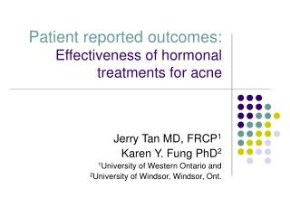 patient reported outcomes: effectiveness of hormonal treatments for acne