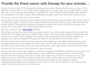 4Provide the finest cancer cells therapy for your
