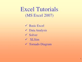 Excel Tutorials MS Excel 2007