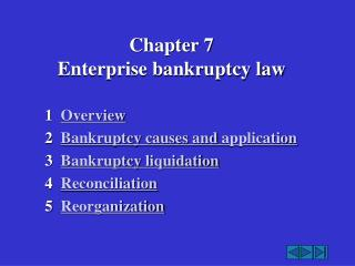 Chapter 7   Enterprise bankruptcy law