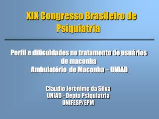 XIX Congresso Brasileiro de Psiquiatria