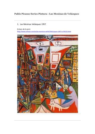 Pablo Picasso Series Pintura Las Meninas de Velázquez -- Art