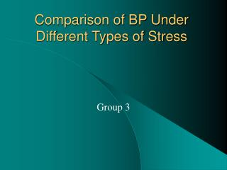 Comparison of BP Under Different Types of Stress