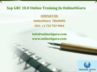 Sap Grc 10.0 online training | USA, UK, CANADA, Australia, S