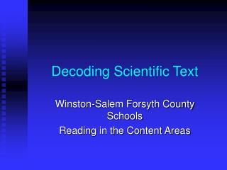 Decoding Scientific Text