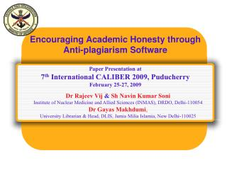 Encouraging Academic Honesty through Anti-plagiarism Software