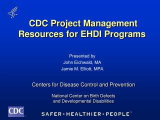 CDC Project Management Resources for EHDI Programs