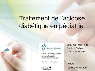 Traitement de l acidose diab tique en p diatrie