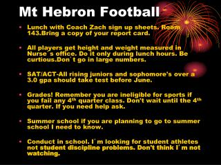 Mt Hebron Football