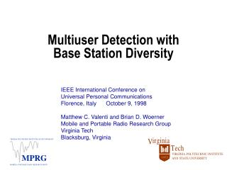 Multiuser Detection with  Base Station Diversity
