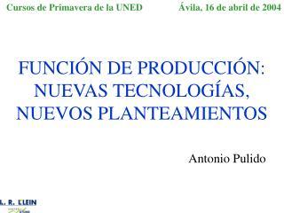 FUNCI N DE PRODUCCI N: NUEVAS TECNOLOG AS,  NUEVOS PLANTEAMIENTOS