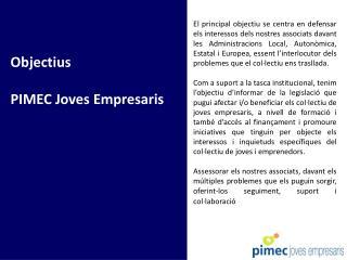 Objectius   PIMEC Joves Empresaris