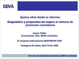 Juana T llez Economista Jefe, BBVA Colombia  II Congreso Internacional ASOFONDOS-FIAP  Cartagena de Indias, Abril 24 de