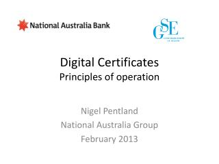 Digital Certificates Principles of operation