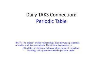 Daily TAKS Connection: Periodic Table