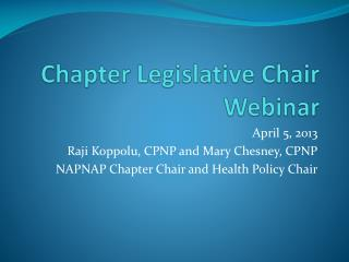 Chapter Legislative Chair Webinar