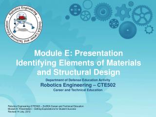 Department of Defense Education Activity Robotics Engineering   CTE502 Career and Technical Education