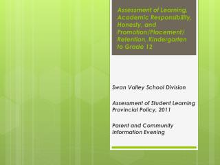 Assessment of Learning, Academic Responsibility, Honesty, and Promotion