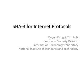 SHA-3 for Internet Protocols