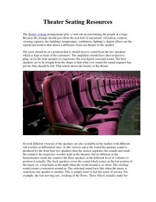 Theater Seating Resources