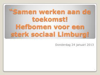 Samen werken aan de toekomst Hefbomen voor een sterk sociaal Limburg