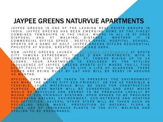 Jaypee Greens Naturvue Apartments