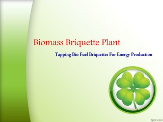 Biomass Briquette Plant Tapping Bio Fuel Briquettes For Ener