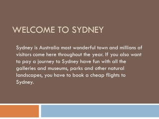 Sydney flights and Travel guide