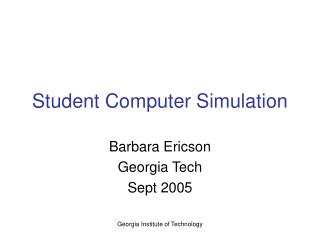 Student Computer Simulation