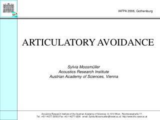 ARTICULATORY AVOIDANCE