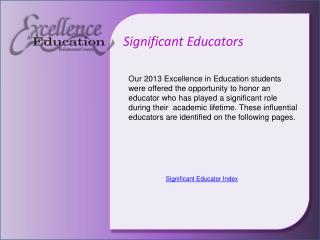 Significant Educators