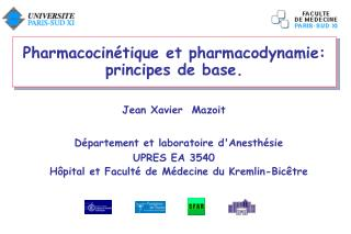Pharmacocin tique et pharmacodynamie: principes de base.