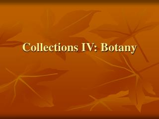 Collections IV: Botany