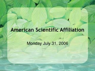 American Scientific Affiliation