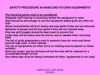 SAFETY PROCEDURE IN HANDLING KITCHEN EQUIPMENTS