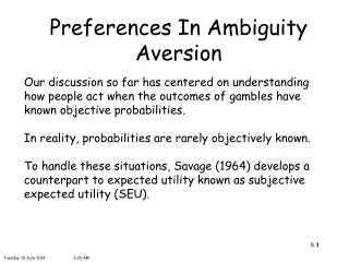 Preferences In Ambiguity Aversion