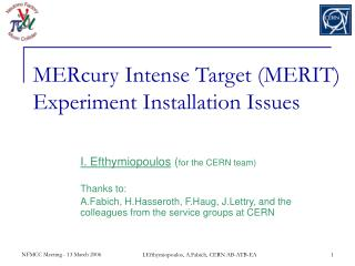 MERcury Intense Target MERIT Experiment Installation Issues