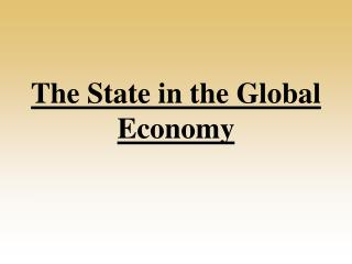 The State in the Global Economy