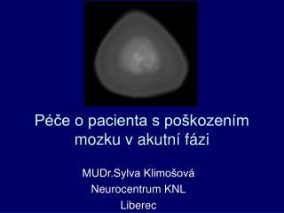P ce o pacienta s po kozen m mozku v akutn  f zi