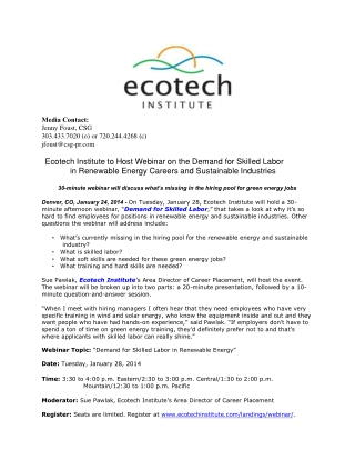 Ecotech Institute to Host Webinar on the Demand for Skilled