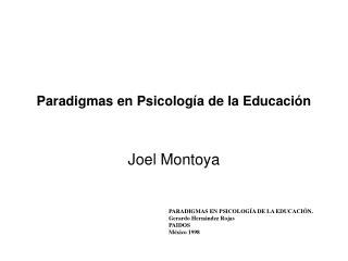 Paradigmas en Psicolog a de la Educaci n